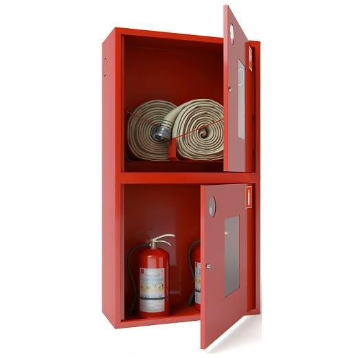 Шкаф для двух пожарных рукавов Ш-ПК-003-21 (навесной,открытый,красный) (ШПК 320 НОК -21)