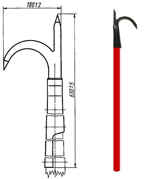 Багор пожарный насадной для комплектации открытого щита с деревянной ручкой