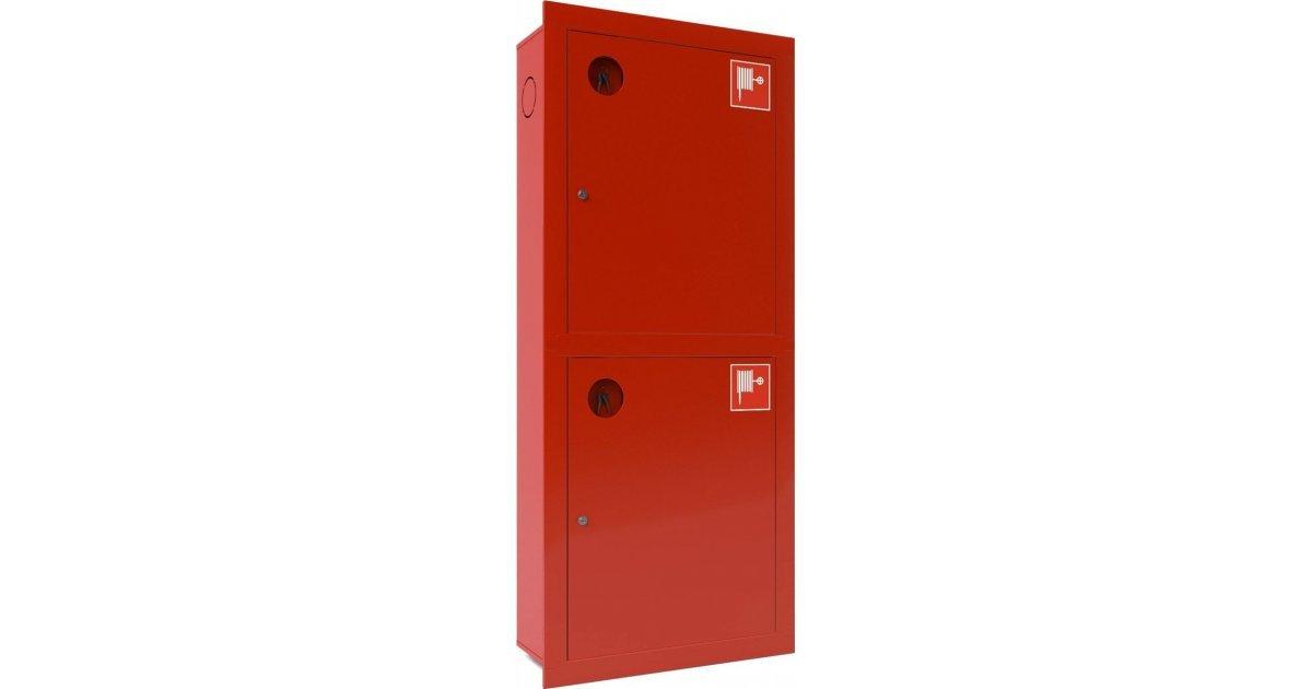 Шкаф для двух пожарных рукавов Ш-ПК-003-21 (встроенный,закрытый,красный) (ШПК 320 ВЗК -21)