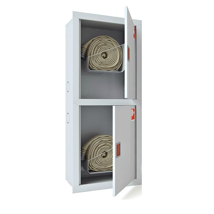 Шкаф для двух пожарных рукавов Ш-ПК-003-21 (встроенный,открытый,белый) (ШПК 320 ВОБ -21)