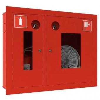 Шкаф для пожарного крана Ш-ПК-002 (встроенный,открытый,красный)  (ШПК 315 ВОК)
