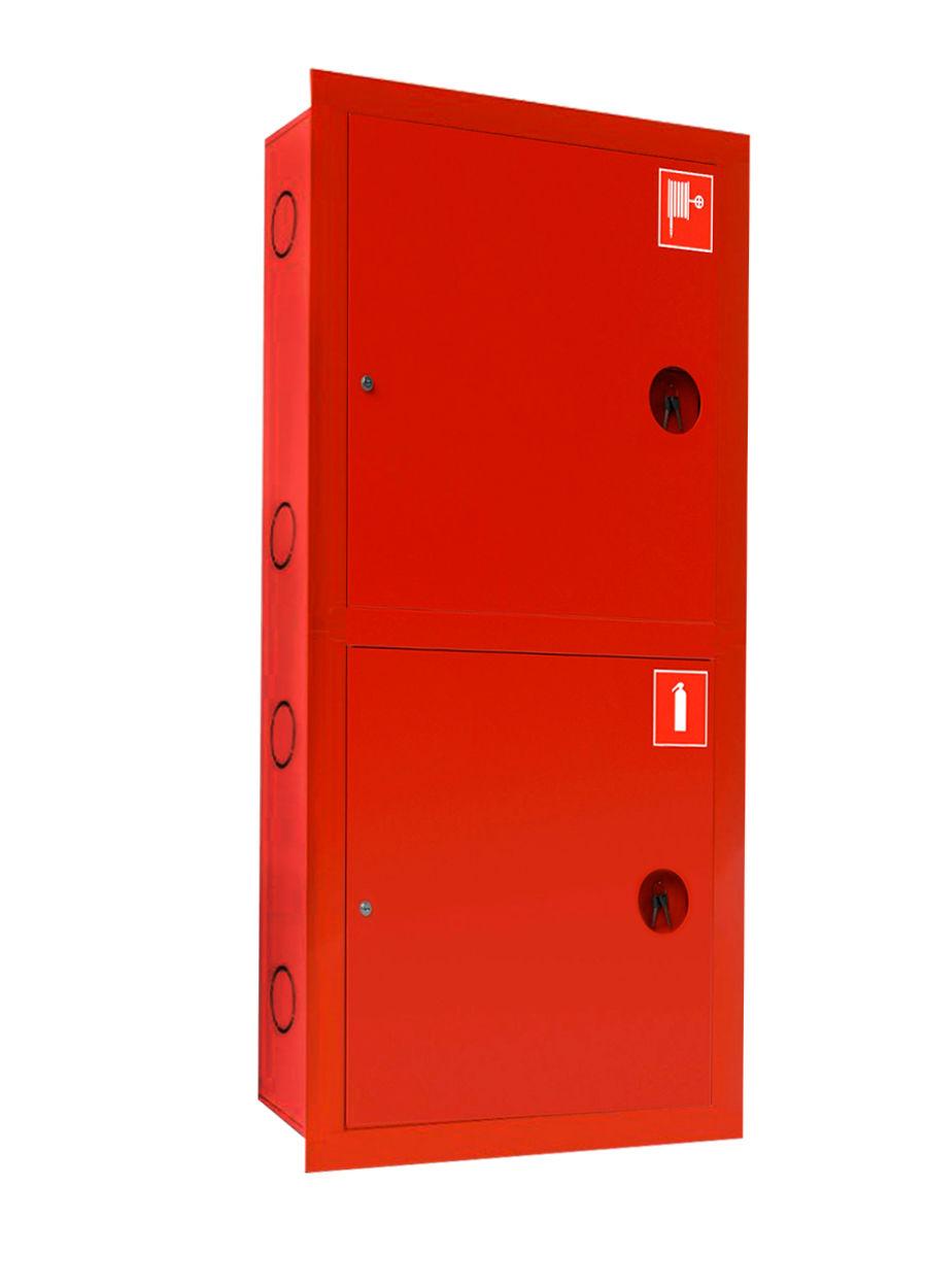 Шкаф для пожарного крана Ш-ПК-003 (встроенный,закрытый,красный) (ШПК 320 ВЗК)