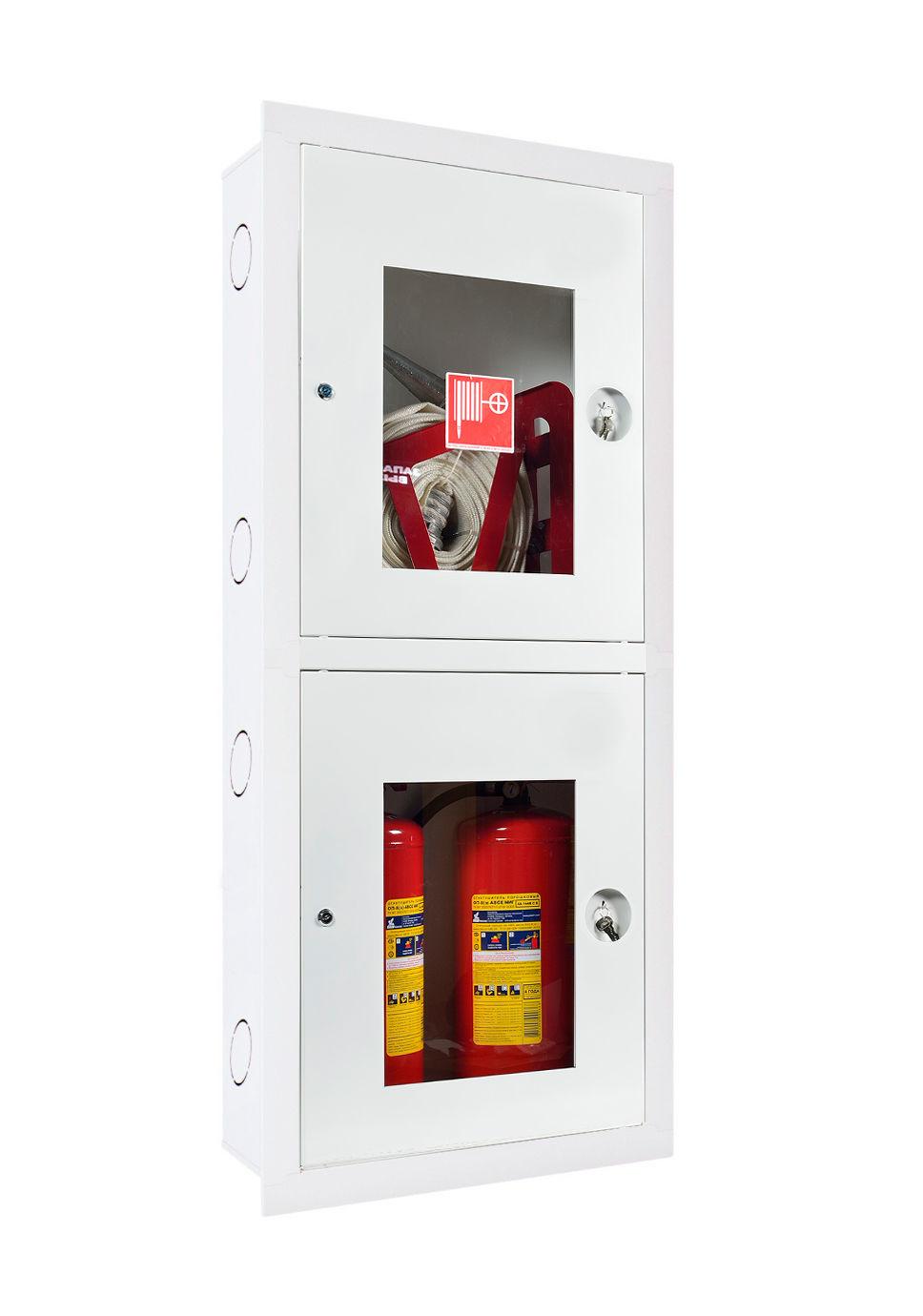Шкаф для пожарного крана Ш-ПК-003  (встроенный,открытй, белый) (ШПК 320 ВОБ)