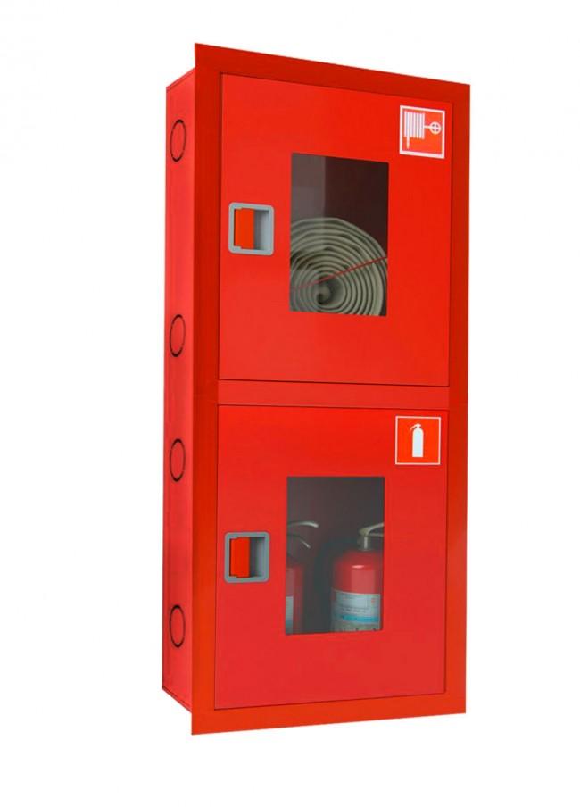 Шкаф для пожарного крана Ш-ПК-003 (встроенный,открытй, красный) (ШПК 320 ВОК)